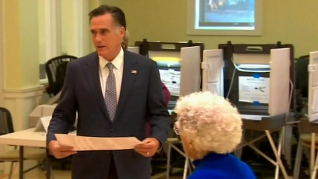 Mitt Romney in polling station