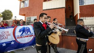 "Members of the mariachi band ""Gallos de Jalisco"" serenade California citizens to get out and cast their vote on  6 Novembers 2012 in of Los Angeles."