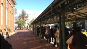The queue at a polling station in Washington DC. Picture: Megan Tracz