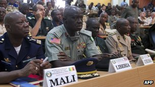 Military leaders from the West Africa bloc Ecowas sit on November 6, 2012 in Bamako