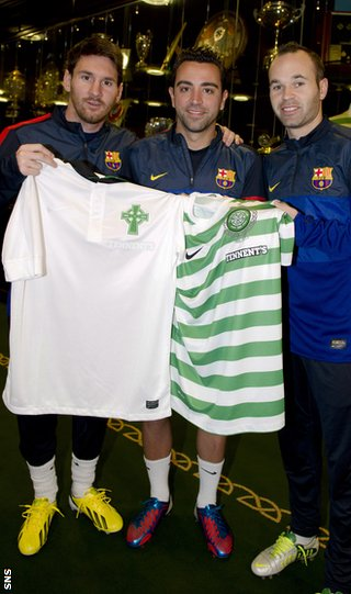 Lionel Messi, Xavi and Andres Iniesta break from training to wish Celtic a happy anniversary