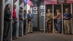 Voters in Dixville Notch, New Hampshire, wait to cast their votes at midnight