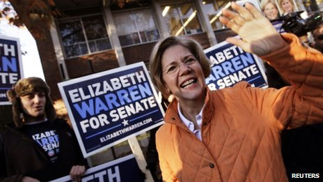 Massachusetts Democratic Senator-elect Elizabeth Warren waves to supporters before voting (6 Nov)