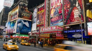 Billboards advertising Broadway in New York's Times Square
