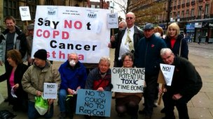 Residents opposed to the coal recovery site gather outside Sheffield Town Hall