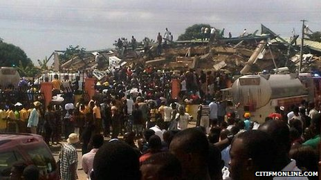 The scene of the collapsed Melcom building Copyright: Citifm