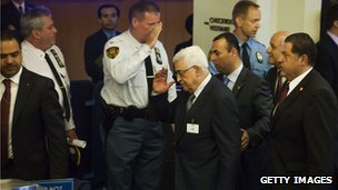 Palestinian President Mahmoud Abbas leaving the UN after President Obama's address on 25 September