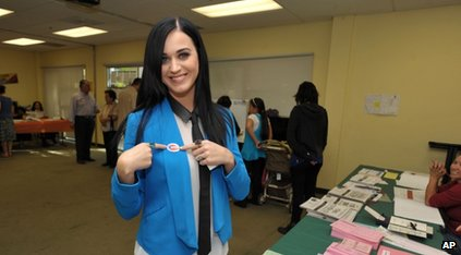 katy Perry at a polling station