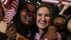 Supporters of US President Barack Obama cheer after networks project Obama as reelected