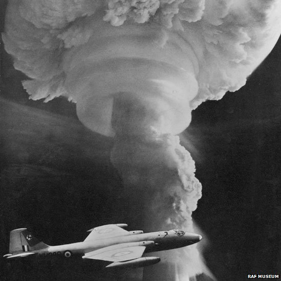 Canberra B6 flying past the mushroom cloud of a Grapple nuclear test