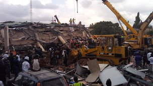 The scene of the collapsed Melcom building