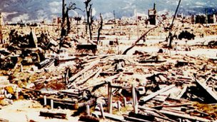 Devastation in Hiroshima after the atom bomb had been dropped on it in August 1945