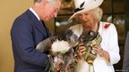 Prince Charles and his wife, Camilla, the Duchess of Cornwall, hold koalas