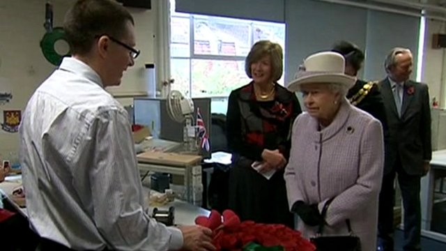 The Queen at poppy factory