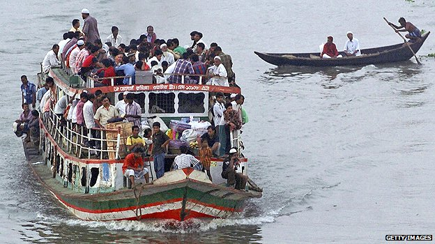 Overcrowded ferry in Dhaka