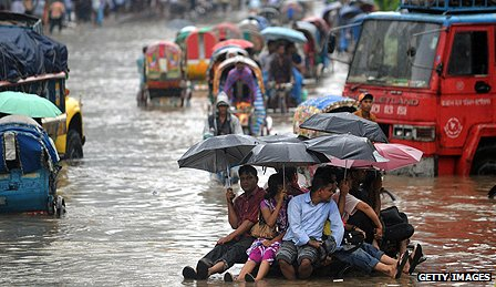 Flooded streets in Dhaka