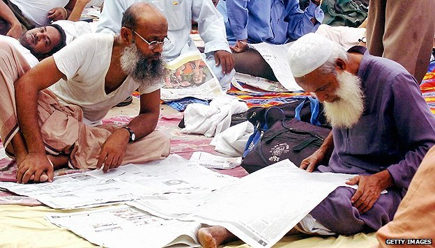 Newspaper readers in Bangladesh