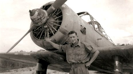 Bob with Japanese plane in Penang 1945