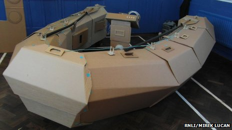 Cardboard replica lifeboat