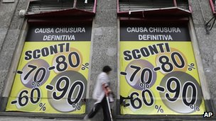 Discount signs in Italy