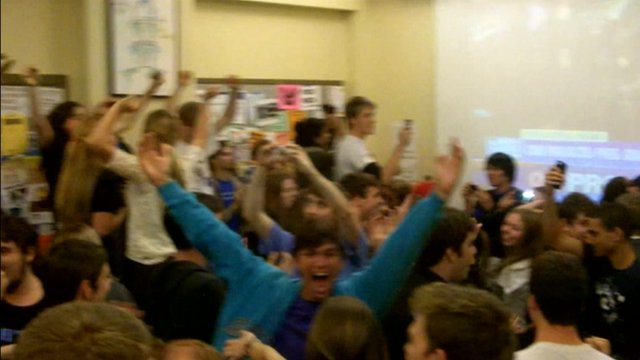 Students at Georgetown University, Washington celebrate Obama's victory