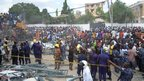Crowds at the site of the shopping complex collapse in Ghana's capital, Accra - Wednesday 7 November 2012