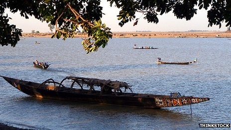 Boat on the river Niger at Mopti