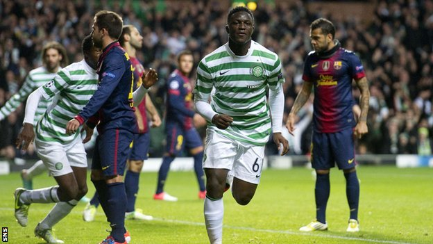 Victor Wanyama celebrates putting Celtic in front against Barcelona
