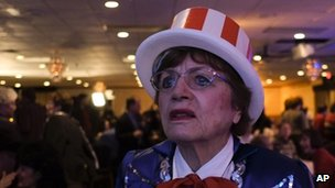 Loris Tangvik, a Romney supporter, watches as election results