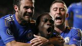 Victor Moses and his team-mates celebrate Chelsea's winner