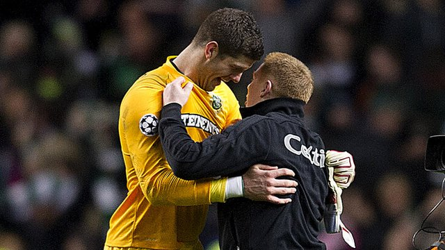 Fraser Forster and Celtic manager Neil Lennon
