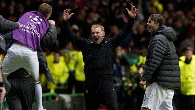 Celtic manager Neil Lennon celebrates Tony Watt's goal against Barcelona