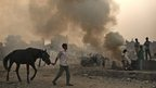 An Indian man walks his horse past men burning garbage in a poor neighbourhood of New Delhi, India, Tuesday, Nov. 6, 2012