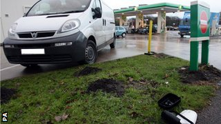 The petrol station in Wrightington (van pictured was not involved in the incident)