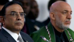 President Asif Zardari of Pakistan (left) with President Hamid Karzai of Afghanistan