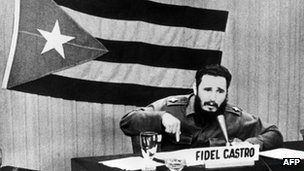 Cuban leader Fidel Castro giving a speech in 1962 at the height of the Cuban missile crisis