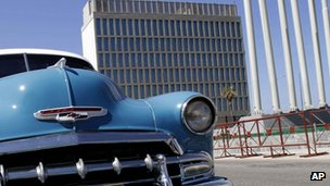American classic car parked near near the US Interests section building in Havana, Cuba