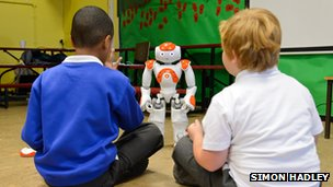 Autistic children with robot 
