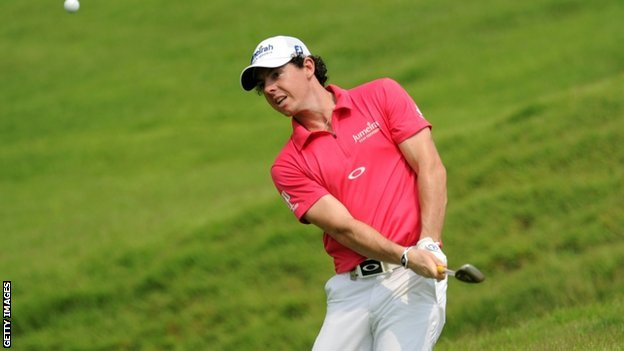 Rory McIlroy playing at the Singapore Open