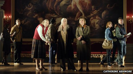 A scene from People – centre stage Linda Bassett – Iris,  Frances de la Tour – Dorothy Stacpoole, Selina Cadell – June Stacpoole