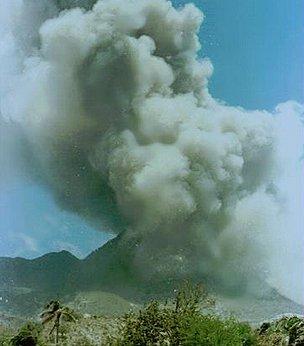 Soufriere Hills volcano erupting
