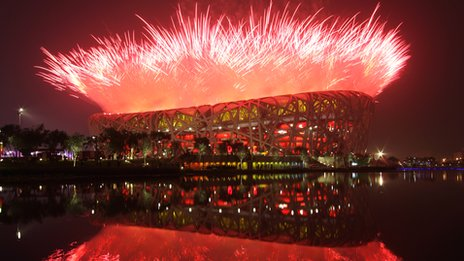 Firework display at opening ceremony of 2008 Beijing Olympics