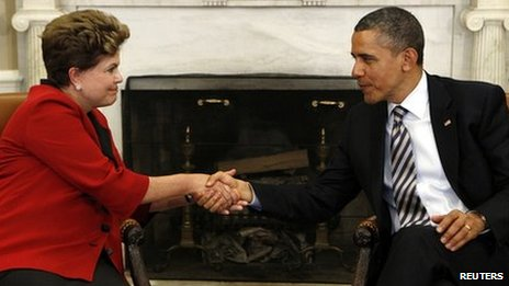 US President Obama and Brazil&#039;s Dilma Rousseff meeting at the White House, April 2012