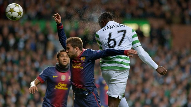 Kenya&#039;s Victor Wanyama scores for Celtic against Barcelona