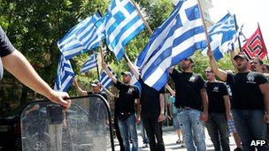 Members of the Greek far-right ultra-nationalist party Golden Dawn demonstrate outside the Turkish consulate in the northern Greek city of Thessaloniki (28 June 2012)