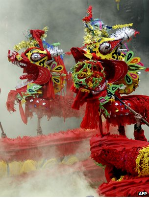 Dragon dance performed to celebrate the traditional Lantern Festival in the soutwestern Chinese province of Guizhou on 3 February 2012