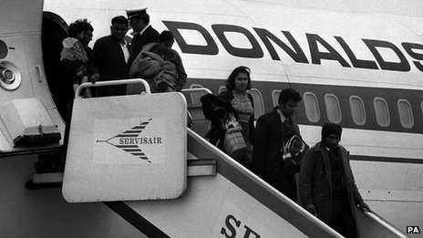 Asian immigrants from Uganda arrive in Britain in 1972