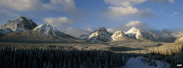 View of the Rocky Mountains in Banff National Forest, Alberta Province, Canada
