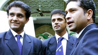 Sourav Ganguly (l) Rahul Dravid (c) and Sachin Tendulkar
