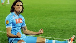 Napoli's Edinson Cavani celebrates his hat-trick goal